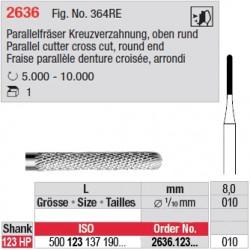 Fraise parallèle denture croisée, bout arrondi - 2636.123.010