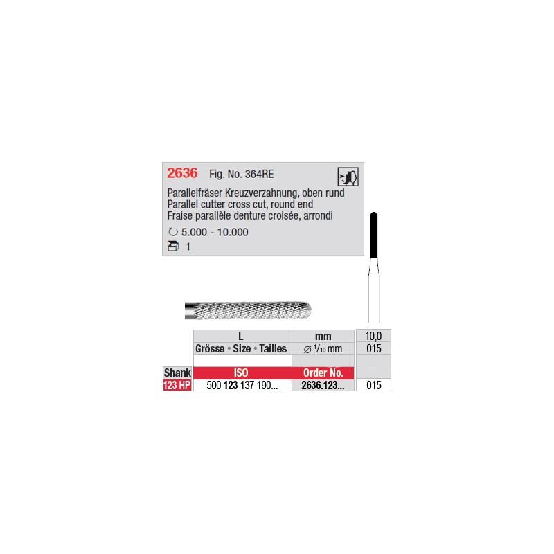 Fraise parallèle denture croisée, bout arrondi - 2636.123.015
