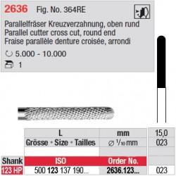 Fraise parallèle denture croisée, bout arrondi - 2636.123.023