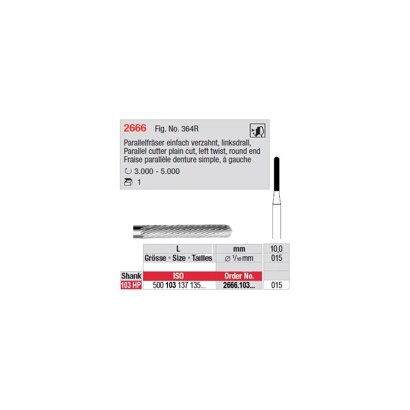 Fraise parallèle denture simple, à gauche - 2666.103.015