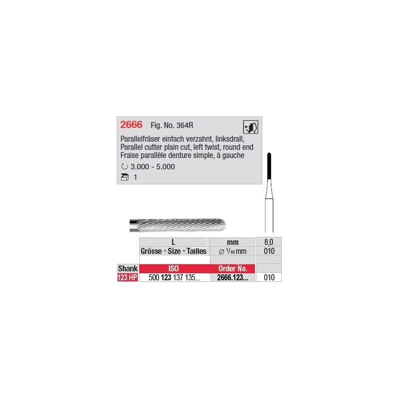 Fraise parallèle denture simple, à gauche - 2666.123.010