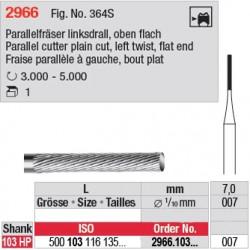 Fraise parallèle denture simple à gauche, bout plat - 2966.103.007