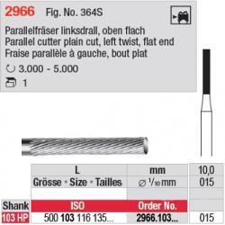 Fraise parallèle denture simple à gauche, bout plat - 2966.103.015