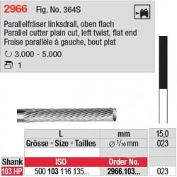 Fraise parallèle denture simple à gauche, bout plat - 2966.103.023