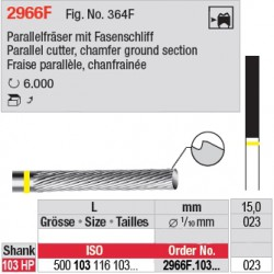 Fraise parallèle chanfrainée, bout plat - 2966F.103.023