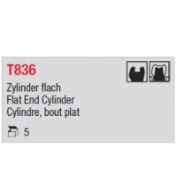 T836 - cylindre court, bout plat