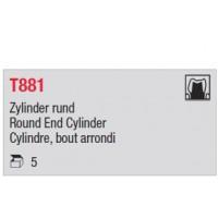 T881 - cylindre court, bout arrondi